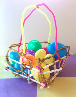 Students are tasked with the challenge to design a basket that will successfully hold their Easter eggs during a race.