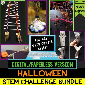 Click here for my digital 5-in-1 Halloween STEM Challenge Bundle. Combine science, technology, engineering, and mathematics for hands-on, engaging student learning (disguised as fun)! Modifications and extensions included for students in Grades 2-8.