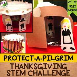 Thanksgiving STEM Challenge: In Protect-a-Pilgrim, students build a shelter designed to protect Pilgrims from wind, rain, and snow. Includes modifications grades 2 - 8.