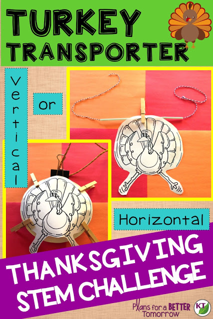 Thanksgiving STEM Challenge: In Turkey Transporter, students design a way to transport turkeys quickly and safely across a horizontal and/or vertical distance. Includes modifications grades 2 - 8.
