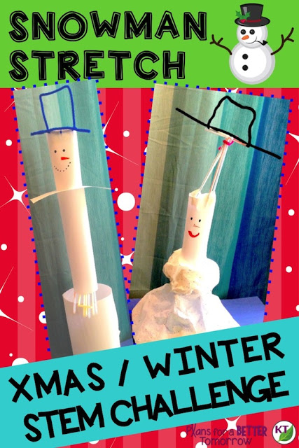 WINTER - CHRISTMAS STEM Challenge: In Snowman Stretch, students build a snowman designed for maximum height or volume. Comes with modifications for grades 2-8.