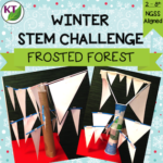 """WINTER STEM Challenge: In Frosted Forest, students aim to build the """"iciest"""" tree possible in their class's Frosted Forest! This challenge is all about triangles and has a VERY wide range of difficulty options. Comes with modifications for grades 2-8."""