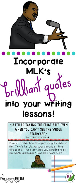 Martin Luther King, Jr. quotations are perfect to inspire quick writes and introduction paragraph hooks for grades 5 - 8.