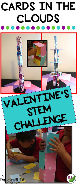 Valentine's Day STEM Challenge: In Cards in the Clouds, students create the tallest towers possible from their Valentine's Day cards or from kindness/compliment cards they create themselves! Comes with modifications for grades 2-8.