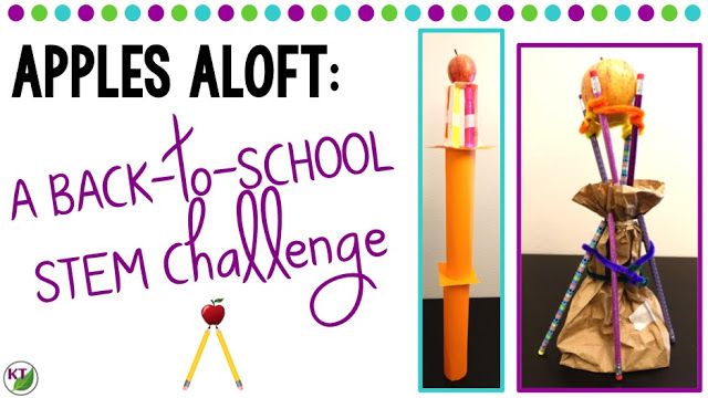 Back-to-School STEM Challenge: In Apples Aloft, students build the tallest tower possible from school supplies with an apple on top! Includes modifications for grades 2-8.