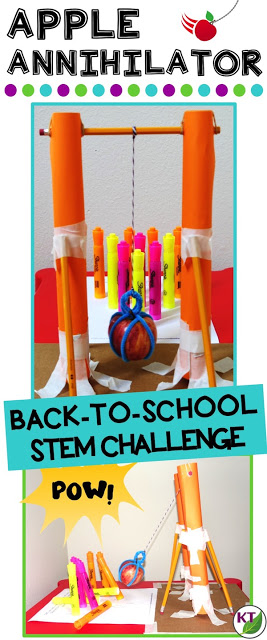 Back-to-School/Fall STEM Challenge: In Apple Annihilator, students build an apple wrecking ball! This challenge is perfect for studies of forces and motion and includes modifications for grades 2-8.