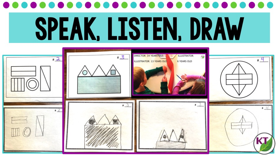 This activity is a great to tool to practice oral and written communication skills as well as reinforce math vocabulary, estimation, and measurement skills. Students will describe relative size and position of various shapes, lines, and angles [triangle (right, acute, obtuse, scalene, equilateral, isosceles), square, rectangle, parallelogram, hexagon, pentagon, octagon, circle, oval, parallel lines, intersecting lines, perpendicular lines, etc.] Though students don't strictly need to use this vocabulary to succeed, it certainly helps!