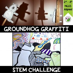 In groups, students will create groundhog shadows, searching for the perfect combinations of light source angles, distances, and even groundhog accessories to meet the specified shadow criteria & constraints. Shadows will be traced and and turned into street art/graffiti. Includes modifications, grades 2-8.